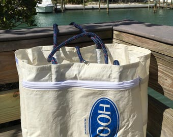HOOD XXLG Oversized Organizer Sail Sea Bag from recycled sail with 2 exterior zippered pockets, SailAgainBags