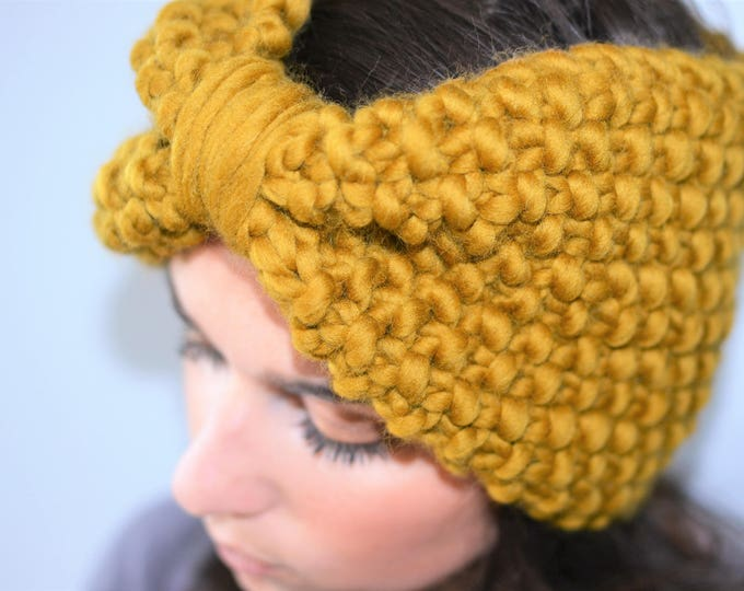 Bow Headband Turban | Yellow Green Moss Adult Knit Headband | Moss Green Bow Headband
