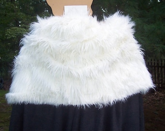 Game of Thrones Cape with Long Ivory Fur- Winterfell Cloak - Jon Snow -Knight's Watch - Ned Stark - Robb Stark - Medieval Costume - Viking