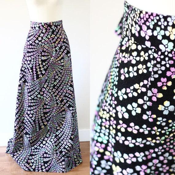 1970s rainbow sparkle skirt // vintage circle skirt // vintage maxi skirt