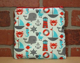 One Sandwich Bag, Reusable Lunch Bags, Waste-Free Lunch, Machine Washable, Sea Creatures, Sandwich Sacks, item #SS76