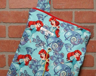 Medium Knitting Bag, Crochet, Knit, Yarn, Wool, The Little Mermaid, Yarn Storage, Yarn Bag with Hole, Grommet, Handle, MYB11