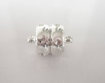 Silver plated brass and rhinestone magnetic clasp