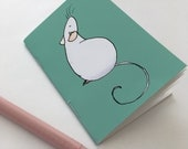 Handmade rat A7 notebook, teal background, roan rat, cute rat gift, fancy pet rat product