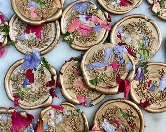 Self Adhesive Wax Seals, Envelope Seals, Wax Seals, Wreath Wax Seal, Laurel Wreath Wax Seal, Botanical Wax Seals, Botanical, Dried Flowers