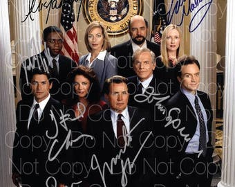 West Wing signed Cast Martin Sheen Allison Janney Bradley Whitford Rob Lowe Richard Schiff  8X10 photo picture poster autograph RP