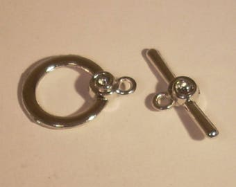 Toggle round Tibetan silver with small pink 17X25mm