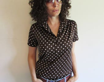 Vintage 70s Brown and White Polka Dot Polyester Blouse Shirt