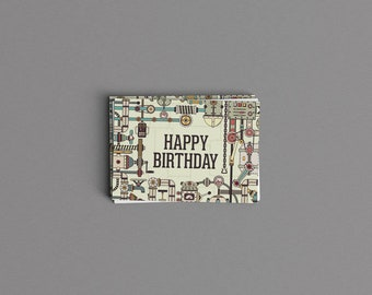Digital Download Industrial Green Robot Birthday Card