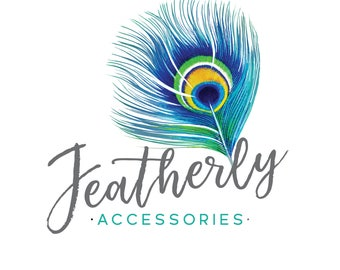 Premade Logo Design | Boho Logo | Feather Logo  |  Peacock Logo | Watermark | Etsy Branding | Branding Package
