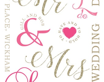 Mr + Mrs personalised Wedding Print I do Mr and Mrs
