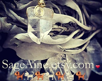 SageAine: Clear Quartz Crystal Healing Pendant, Dog and Cat,  Reiki Charged, Custom made