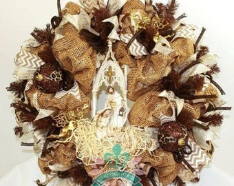 Gorgeous  Christmas Nativity Manger Scene Deco Mesh Wreath From Crazyboutdeco