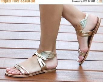 leather sandals,women sandal,summer flat sandals,spartan sandals,sandales grecques,classic greek sandal,Gold Leather flat sandals,Size EU 42