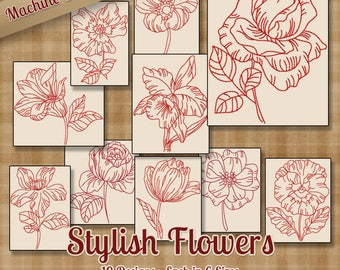 Redwork Stylish Flowers Machine Embroidery Patterns / Designs - 6 Sizes - 10 Designs - Multiformat - Floral Outline Colorwork Quick