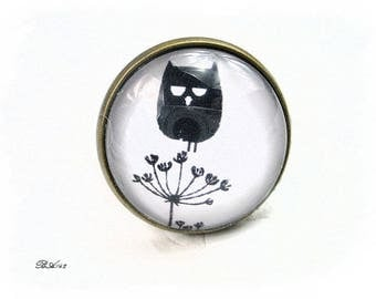 ring adjustable white and black OWL BA142