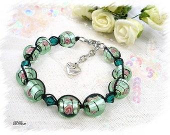 Green shamballa BR689 braid bracelet