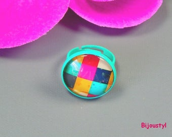 """Ring - Cabochon 20 mm - """"tile multi - green metal stand"""