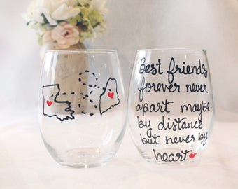 Best Friends Wine Glass, Best friend Gift, Long Distance Best Friend ,Best Friend Long Distance, Best Friend Moving Away Gift, Stemless Wine