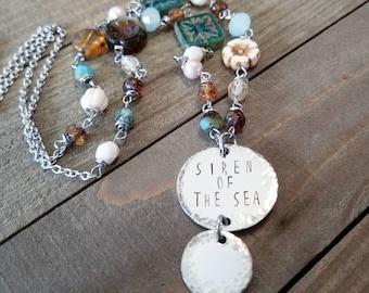 Siren of the sea -  Mermaid necklace - Mermaid jewelry - mermaid beaded necklace - beach jewelry - Mermaid gifts - stamped mermaid necklace