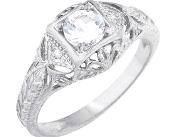 Genuine Aquamarine & Diamond Round Ring .925 Sterling Silver