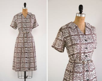 vintage 1940s day dress | 1950s cotton dress xl | feedsack dress | 40s 50s dress