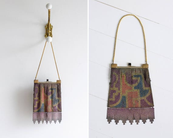 vintage 1920s art deco mesh purse | 1920s flapper purse | 20s painted mesh purse antique | 1920s egyptian revival handbag