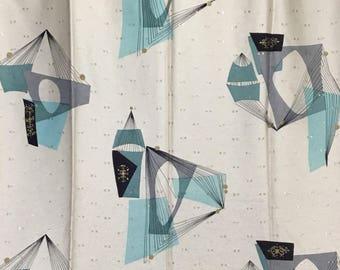 Vintage Atomic Drapery Fabric * Geometric Upholstery Yardage
