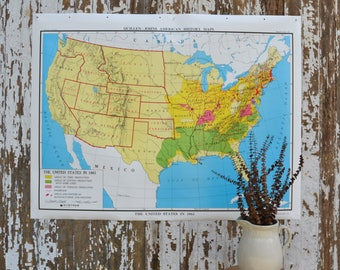 Vintage US School Map - Large United States Nystrom America Poster