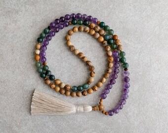 108 Bead Mala with Picture Jasper, Agate & Amethyst - Meditation Yoga Necklace - Boho Spiritual Jewelry - Item # 912