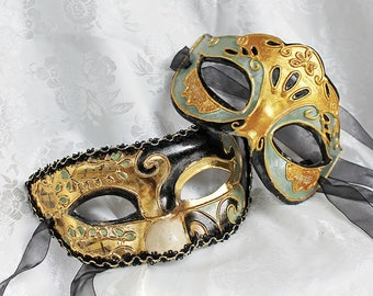 Paper Mache Couples Masks, Matching Venetian Style Papier Mache Green Gold Black Masquerade Masks
