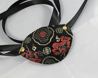 Satin Pirate Eye Patch, Black and Red Satin Brocade Over Leather Pirate Eye Patch