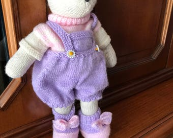 Knitted toy, handmade bear, soft toy, dressed bear