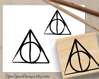 Deathly Hallows Stamp, Harry Potter Stamp, Magical Symbol Rubber Stamp, Harry Potter Gift, Potterhead Stamp, Harry Potter Wand 157