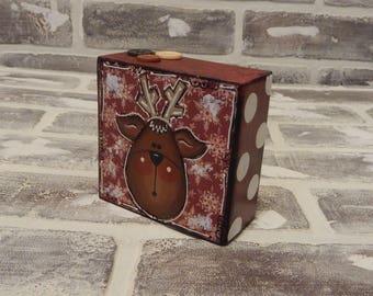 Mixed Media Reindeer Block..Mixed Media Art..Reindeer Art..Reindeer Decor..Christmas Decor..Christmas Art..Holiday Decor..Holiday Art