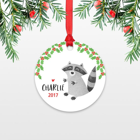 Raccoon Personalized Kids Christmas Ornament Childs Name Ornament Christmas Gift Exchange Ideas Animal Stocking Stuffer for Men for Women