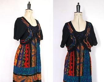 Vintage 1990s Carole Little bolero boho dress - ethnic tribal print dress - 90s boho rayon dress - 90s grunge dress - gypsy folk hippy boho