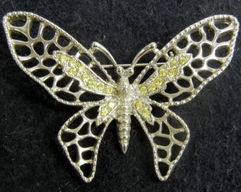 Delicate Butterfly Brooch Silver Tone with Rhinestone Accents