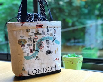 Around the World Insulated Drawstring Lunch Bag - London & Rome/ Handmade Lunch Bag for women/ Lunch Tote/ Women's Tote Bag