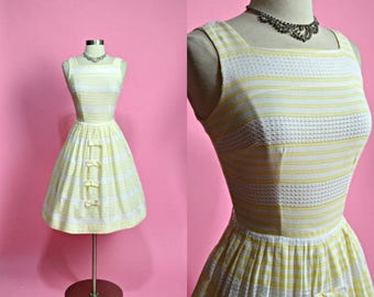 """FLASH SALE 30% 7/21-7/24 1950's Vintage White and Yellow Striped Sheer Cotton Summer Dress Sundress Casual Dress Garden Party Dress 24"""" Wais"""