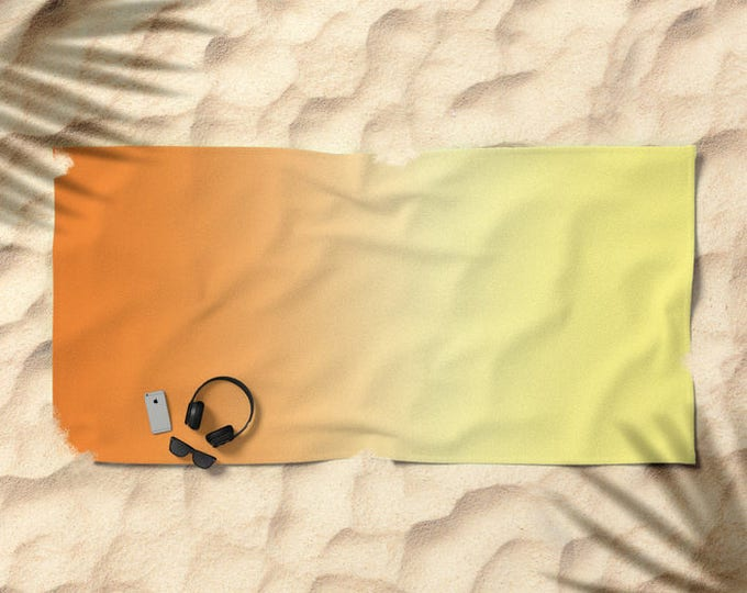 Beach Towel - Ombre Orange to Yellow - Over-sized  - Pool Towel - Microfiber - Cotton Terry Cloth - Made to Order