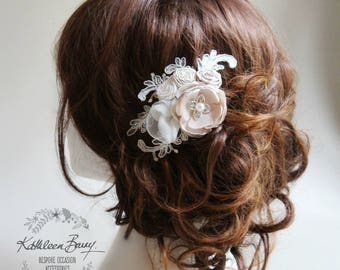 Bridal hairpiece floral - veil comb wedding hair accessory - ivory champagne taupe  - small STYLE:Rose
