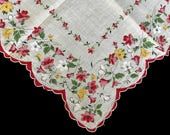 Vintage Hankie Red and Yellow Florals Repurpose Soft Cotton Handkerchief Hanky Little  Flowers on White Scallop Edges