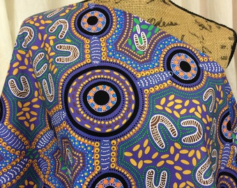 Australian Fabric--Aboriginal Fabric--Aboriginal Art--Cotton Fabric--Ethnic--Sacred Women's Song Blue--Australian Fabric by the HALF YARD