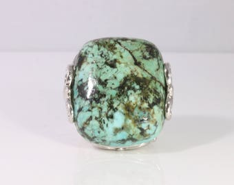 Marbled Turquoise Ring in Silver Setting