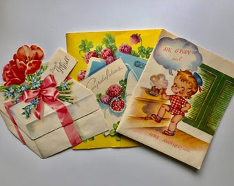 11 Sweet Vintage Greeting Cards, Get Well, Birthday, Sympathy, Charming Mid Century Graphics, Die Cuts, 1950s 1960s, Collage Upcycle Art