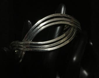 Vintage Stacked Square Wire Cuff Bracelet with Geometric Wave Shape (ABX1H)