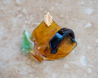 Glass Pendant in Browns & Greens  Fused Glass Jewelry Triangle Glass Pendant