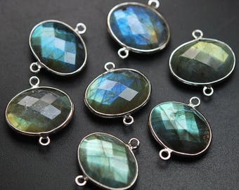 925 Sterling Silver,Labradorite Faceted Oval Shape Connector,5 Piece of 20mm approx