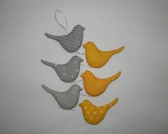 Garland of yellow and gray, birds vertical Garland, wall decor, bird hanging